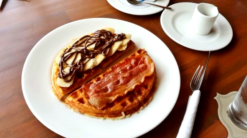 Waffles with Spiced Honey, Nutella and fruit, and Apple Smoked Bacon